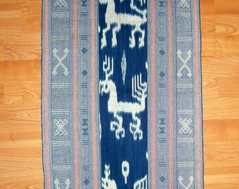 Sale Indigo IKAT weaving vintage ethnic Indonesian tribal art home decor supplies from MyGypsyCottage on Etsy