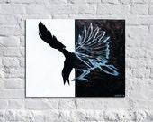 Bright Bird - Original Modern Contemporary Raven Bird Abstract Art Painting
