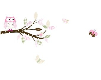 Vinyl Wall Sticker Decal  Owls Birds  Butterflies Branch Set name decal