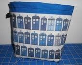 Blue Police Boxes Drawstring Project Bag