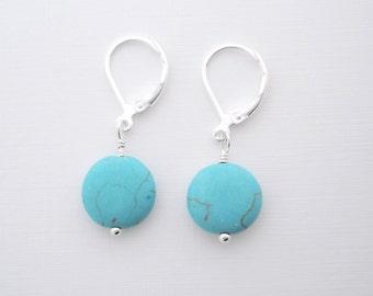Turquoise Earrings - dainty earrings, leverback earrings, dangle earrings, everyday earrings, minimalist jewelry, lightweight earrings