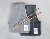 2 Small Project Bags, Knitter gift idea, striped bag, denim wristlet