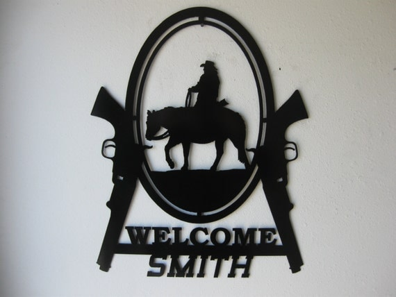 Welcome / Western / Horse / Cowboy / Wall Decor / Wall hanging / Sign / Metal Art / Personalized / Personalized Metal Sign / Surname