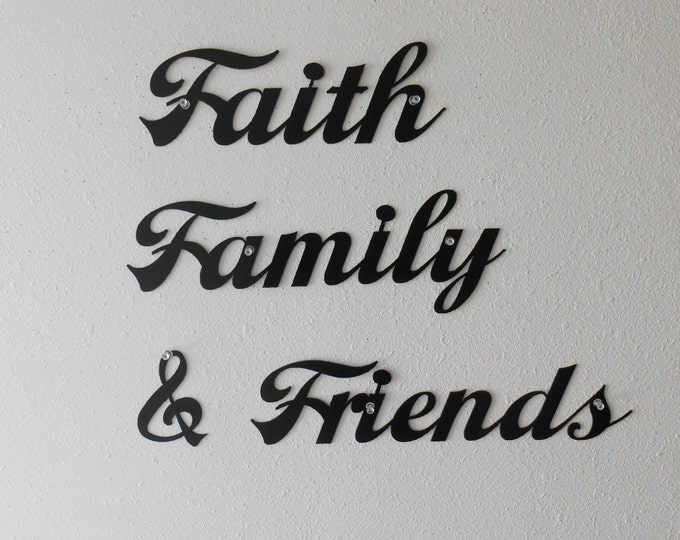 Faith Family Friends Metal Wall Decoration Sign