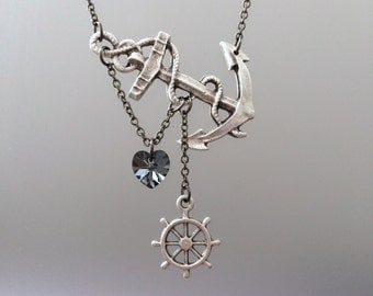 Anchor Heart Necklace, Anchor with Heart, Sideways Anchor, Silver Heart Necklace, Anchor with Ship Wheel, Wanderlust Necklace, Anchor Gift