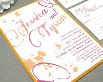 Ombre Wedding Invitations - Artistic Wedding Invitation Suite - Swirl Wedding Invite - Pink and Orange Wedding Pocket Folder Set with Band