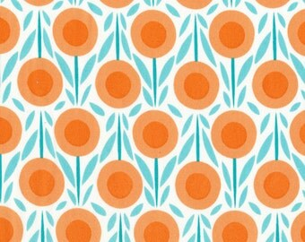 Organic Cotton Fabric - Cloud9 Fabrics House & Garden 2014 - Flower Bed Blue