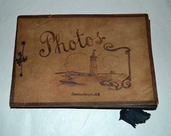 Vintage 1930s Suede souvenir Photo Album with Lighthouse Centre Harbor New Hampshire was 22.00