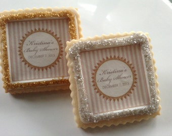 Wedding favors custom cookies champagne blush gold stripes