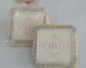 Monogram custom wedding cookie favors champagne