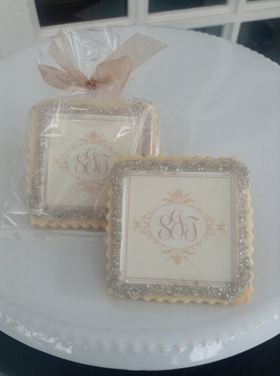 Items Similar To Monogram Custom Wedding Cookie Favors Champagne On Etsy