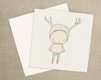 Blank Greeting Card - Square - Cute Deer Girl Light Pink