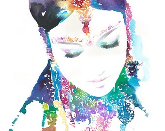 Giclee Print of Original Watercolor Painting, Indian Watercolor Portrait  Titled - Cobalt - only 4 remaining