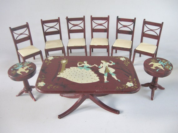 doll house miniature 1940s stenciled dining room furniture by