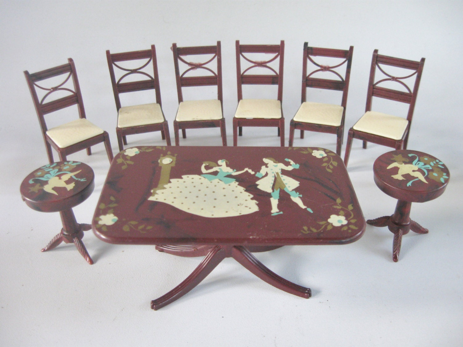 Doll house miniature 1940s stenciled dining room furniture by for Stenciled dining room table