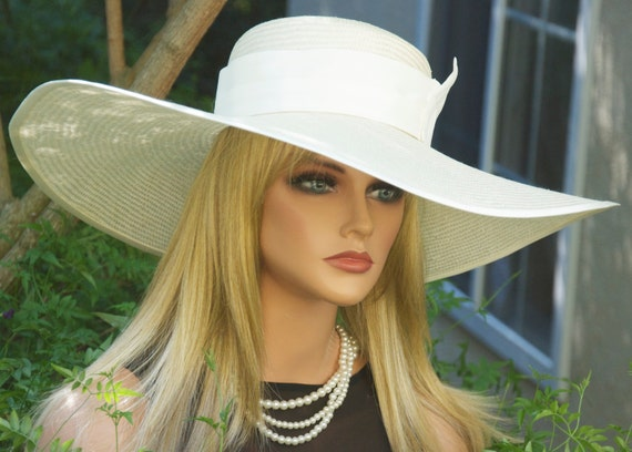Kentucky Derby Hat, ivory cream Wedding Hat, Church Hat, Formal Wide Brim Hat, Mother of Bride Hat, Garden Tea Party Hat, Hat for Ascot Hat