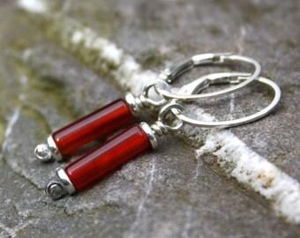 scrolls silver and carnelian earrings