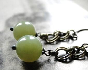 SALE Jewelry, Jade Dangle Earrings, Gemstone Drop Earrings, Spring Accessories, Gift for Her, Jade, Handmade Hammered Hoops, Gift Box