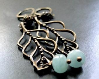 SALE Aquamarine Dangle Earrings, Accessories, Gemstone Earrings, Branch Earrings, Earthy Earrings, Gift For Her, Drop Earrings, Stones