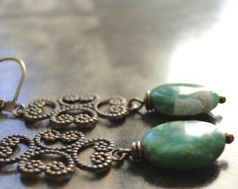 Jewelry, Gemstone Earrings, Green Agate Dangle Earrings, Brass Filigree, Drop Earrings, Accessories, Holiday Gift, Gift Box