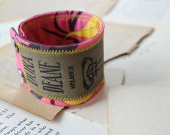 SALE*****Vintage Book Spine Cuff, Fabric Cuff, Upcycled Book Spine Bracelet, Floral Bracelet, Antique Book Cuff, Literature Jewelry