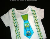 Owl Onesie with Necktie and Suspenders. Made to Order