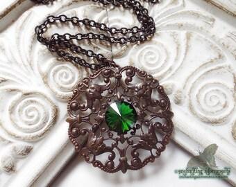 Evanora -- Mystical Enchantress Old World Vintaj Brass and Swarovski Necklace