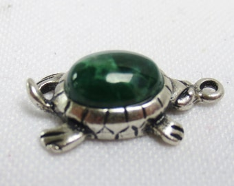 TURTLE GREEN Sterling Silver Charm or Pendant