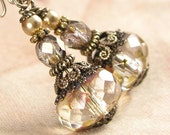 Clear Cream Champagne Crystal Earrings Antique Gold Earrings Vintage Style Earrings