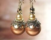 Copper Pearl Earrings Swarovski Crystal Pearl Earrings Antique Gold Earrings Terra Cotta Brown Earrings