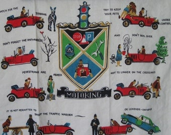 Motoring Humor Vintage Pure Irish Linen Tea Towel, Funny Sayings Antique Car & Trailer Motor Travel