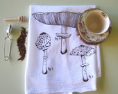 Tea Towel - Screen Printed Flour Sack Towel - Natural Cotton Tea Towel - Botanical - Eco Friendly Kitchen Towel - Handmade - Mushrooms
