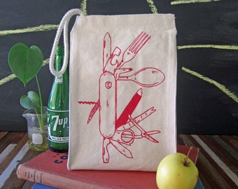 Lunch Bag - Screen Printed Lunch Bag - Reusable Lunch Tote - Recycled Cotton - Eco Friendly Lunch Box - Canvas Tote Bag - Pocket Knife