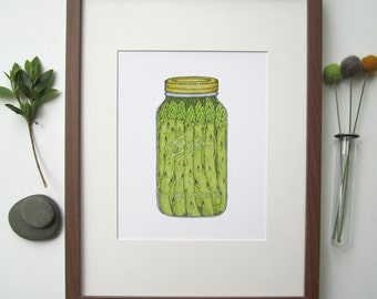 Asparagus Fine Art Print - Handmade Illustration - Mason Jar - Canning - Hand Drawn - Cotton Rag Paper - Wall Art - Home Decor - 8X10 Print
