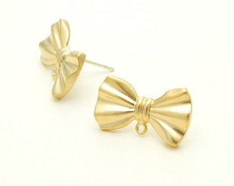 SI-296-MG / 2 Pcs - Cute Ribbon Stud Earrings, Matte Gold Plated over Brass Body with .925 Sterling Silver Post / 19mm x 11mm