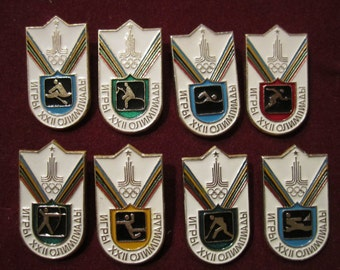 Set of 8 Vintage USSR CCCP  Olympics Game Moscow 1980 Collectible Badges Pins