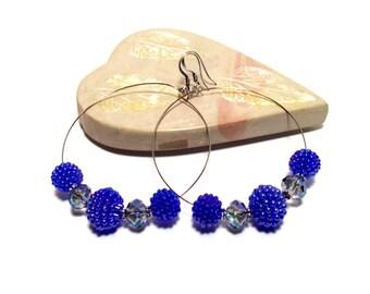 Ocean and Sky Blue Beaded Bead and Crystal Hoop Earrings - Blue Earrings