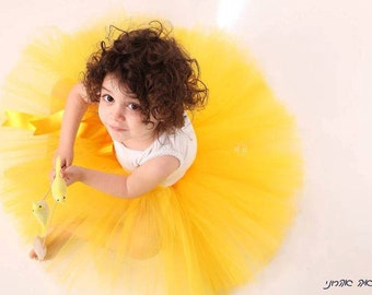 Yellow tutu baby skirt in vintage style petit ballerine photo prop