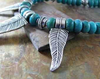 On Sale, Turquoise and Fine Silver Feathers Necklace, Artisan Original and Handmade, Southwest Style, Recycled Silver, by SilverWishes