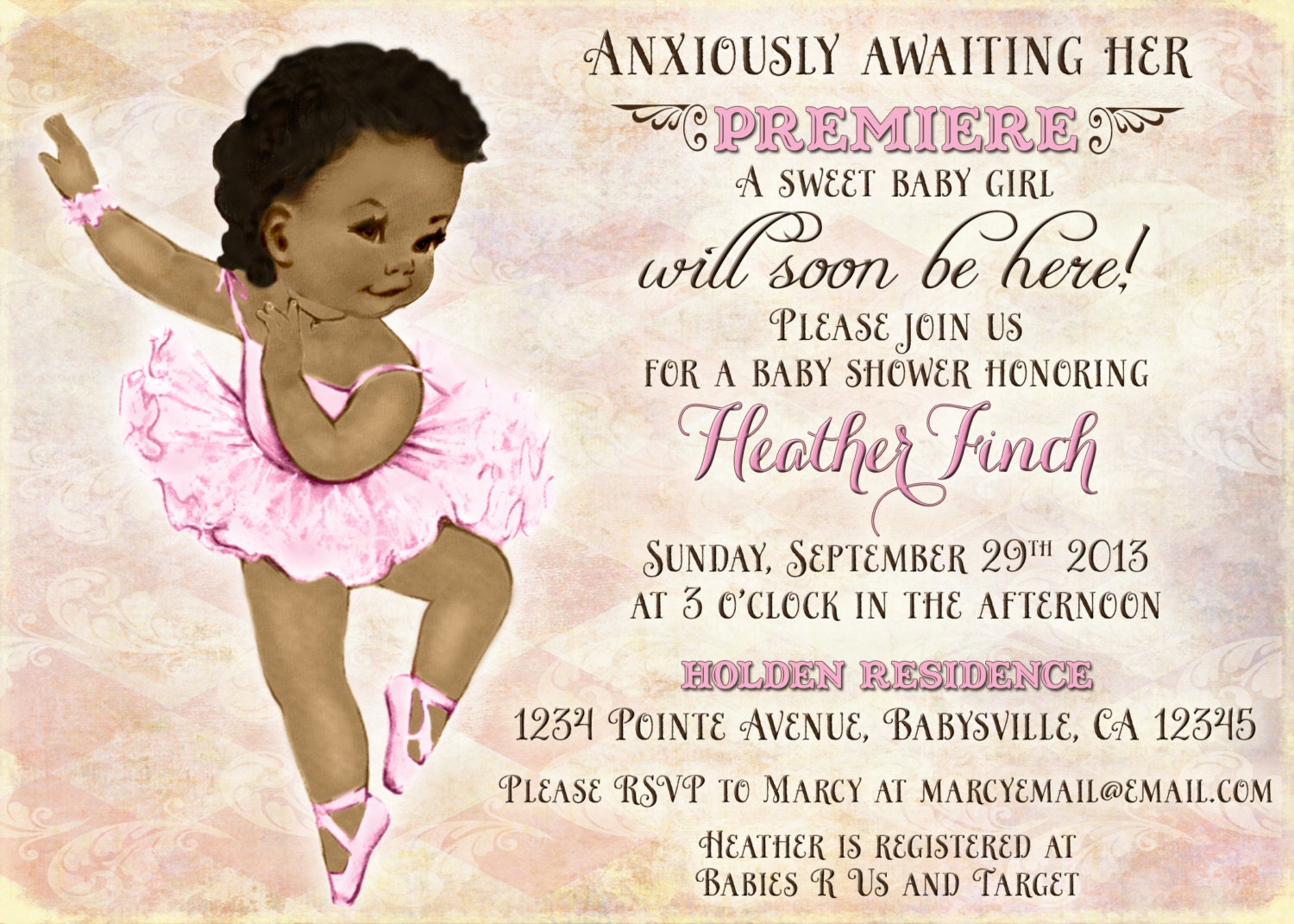 vintage ballerina baby shower invitation for girl by jjmcbean