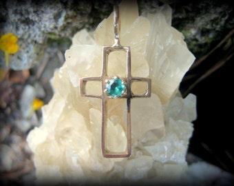 14K Gold Cross with Crystal Clear Emerald