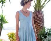 Short Vintage Blue Linen Dress / Summer Dress / Pure Linen / Crinkled Linen / Boho Beach Dress / Hand Made