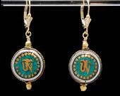 OM earrings | OM Symbol earrings | Ohm earrings | Gold and Turquoise earrings | Tibetan OM earrings | Yoga earrings | Ohm Jewelry