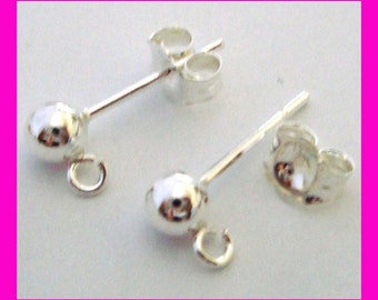 10pcs  solid Sterling Silver 4mm ball earring ear post with butterfly backing E76
