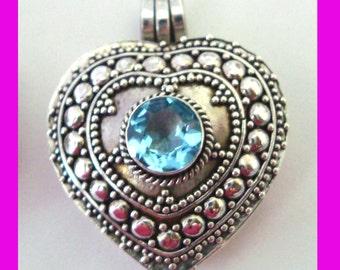 Swiss blue Topaz December birthstone Heart Shape locket Sterling Silver Pendant  PL8