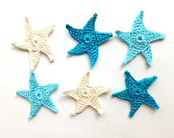 Crochet sea stars applique - blue sea stars embellishment - Beach wedding decorations - beach party decor - summer - set of 6  ~2.1 inches