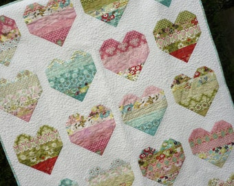 PDF Quilt Pattern, Jelly Roll Pattern, modern quilt pattern, easy quilt pattern, Baby Lap Twin Queen King sizes - Take Heart