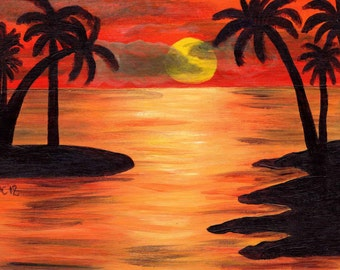 Sunset Palms -  Acrylic Seascape Painting