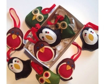 Three Christmas Decorations holiday xmas robin owl and penguin
