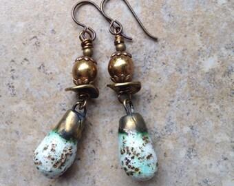 White Speckle Bronzy Dangle Earrings, porcelain, gold, czech glass, brass, scorched earth